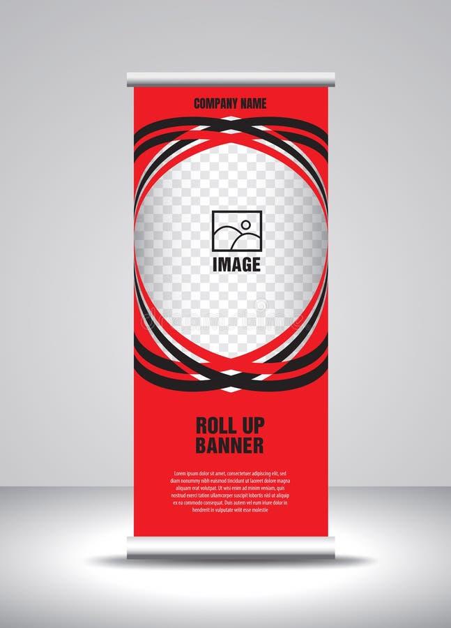 Rojo ruede para arriba el vector de la plantilla de la bandera, bandera, soporte, dise?o de la exposici?n, anuncio, levante, x-ba stock de ilustración