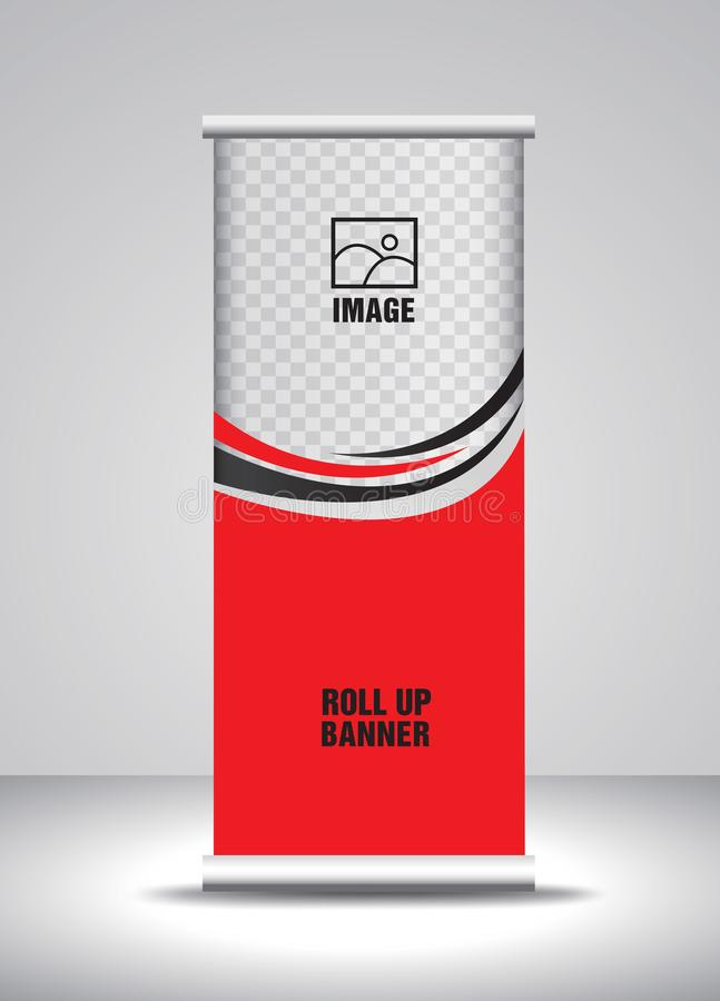 Rojo ruede para arriba el vector de la plantilla de la bandera, bandera, soporte, dise?o de la exposici?n, anuncio, levante, x-ba libre illustration