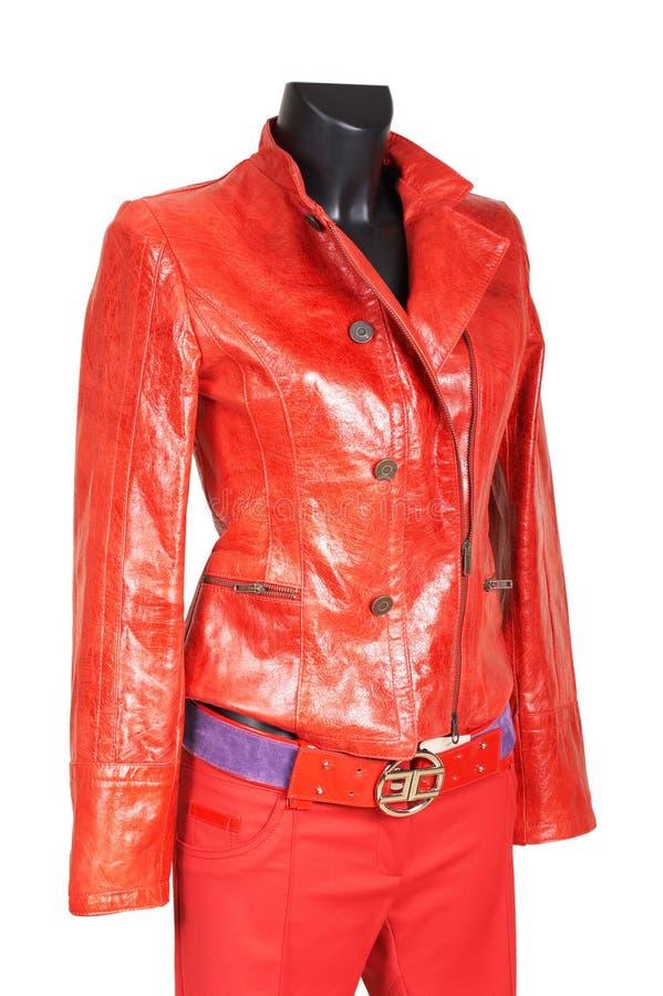 Rojo una chaqueta y pantalones fotos de archivo libres de regalías
