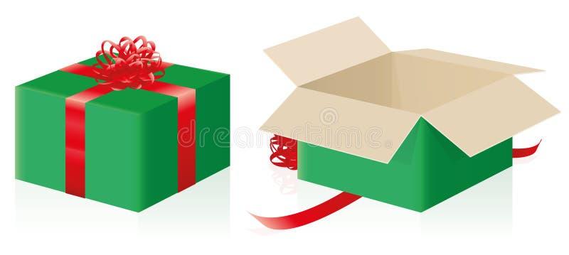 Rojo verde abierto cerrado paquete del regalo stock de ilustración