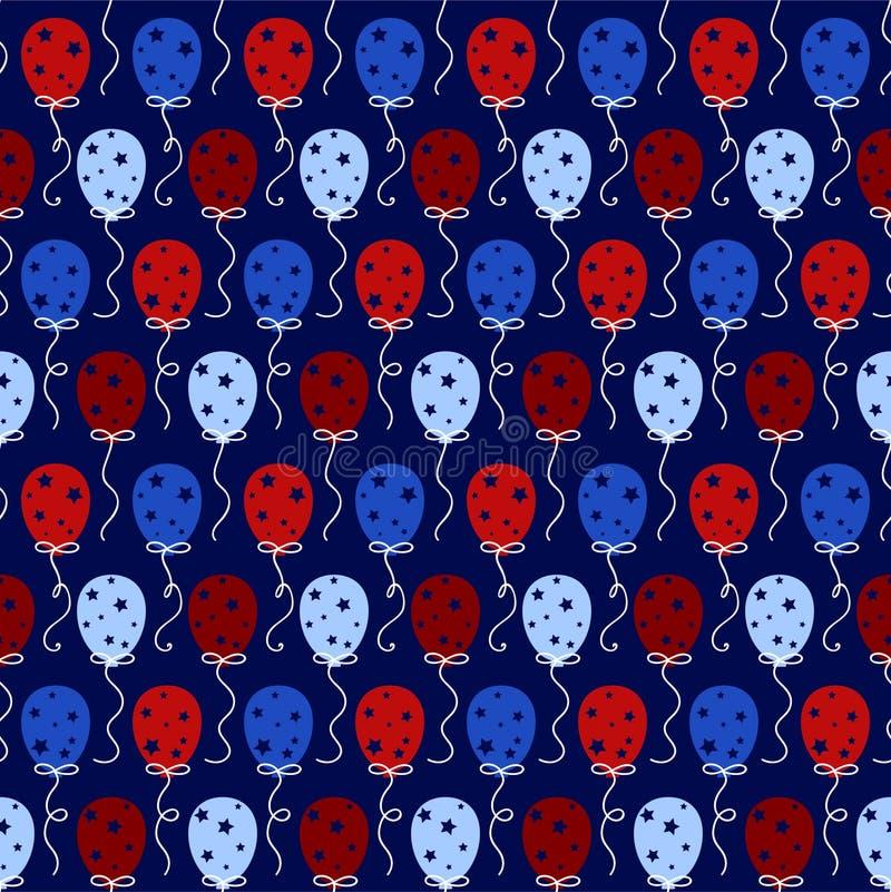 Rojo y azul hincha el modelo inconsútil ilustración del vector