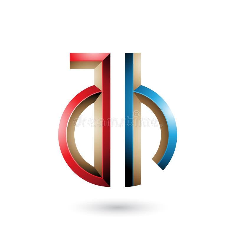 Rojo y azul Llave-como el símbolo de las letras A y H aislados en un fondo blanco stock de ilustración