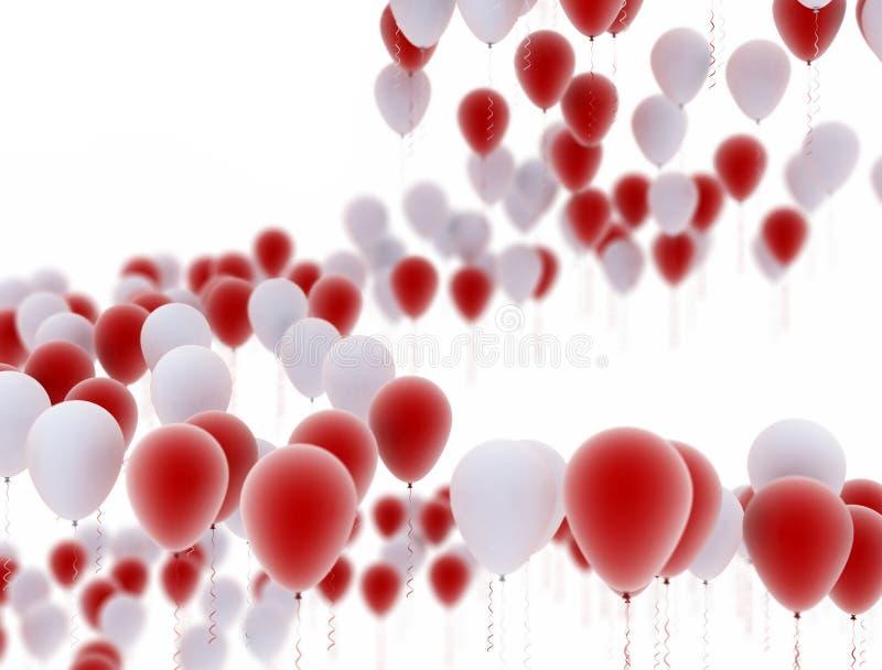 Rojo y blanco del fondo de los globos ilustración del vector