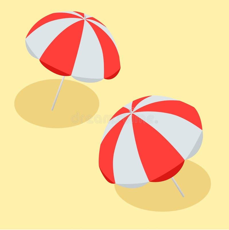 Rojo y blanco del parasol de playa del ejemplo del vector El símbolo de un día de fiesta por el mar Vector plano 3d isométrico stock de ilustración