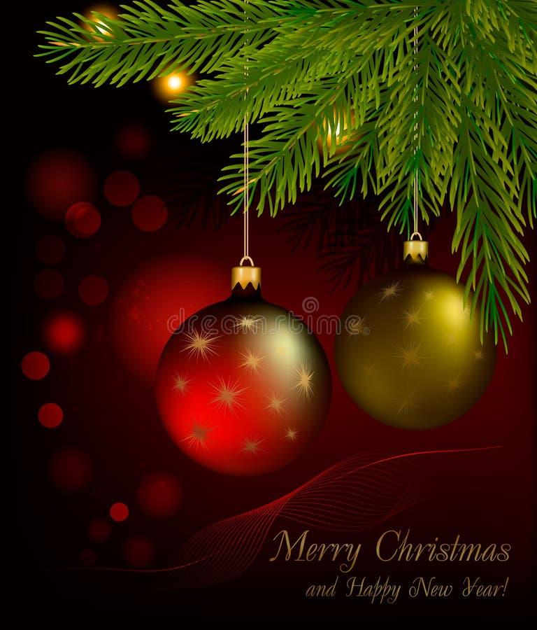 Rojo y bolas del oro en fondo de la Navidad. Vector stock de ilustración
