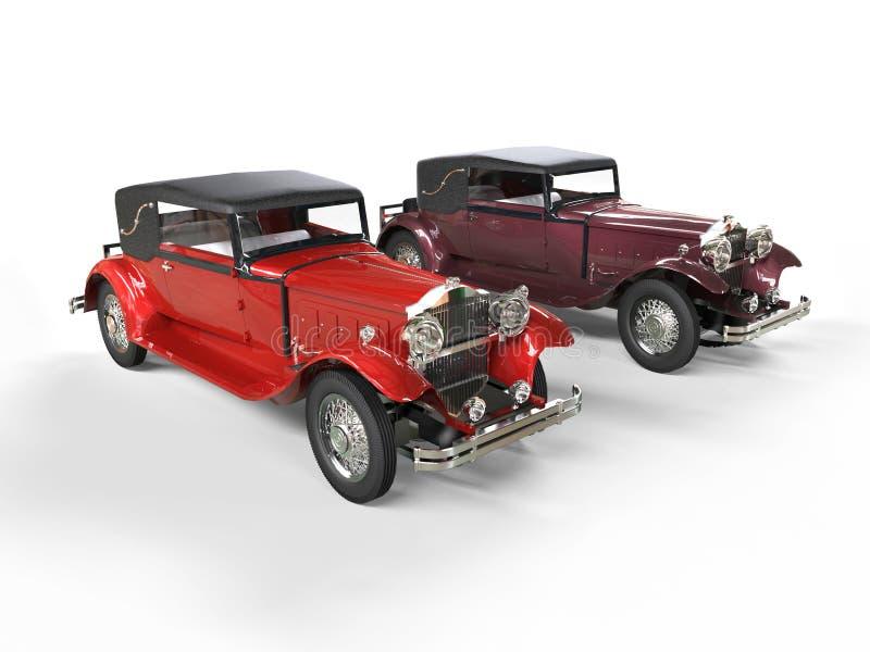 Rojo y coches clásicos del vintage de Borgoña imagen de archivo