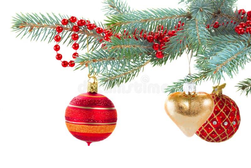 Rojo y decoraciones de la Navidad del oro en árbol de abeto imagen de archivo libre de regalías