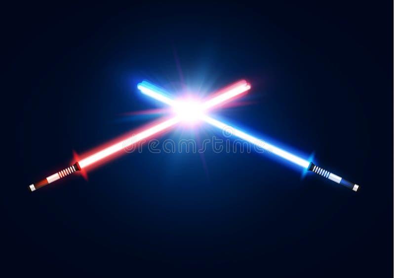 Rojo y espadas de neón ligeras cruzadas azul libre illustration