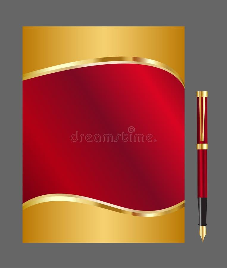 Rojo y fondo abstracto del oro ilustración del vector