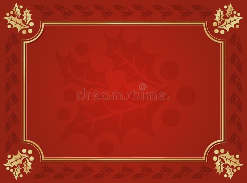 Rojo y fondo cortado acebo del oro libre illustration