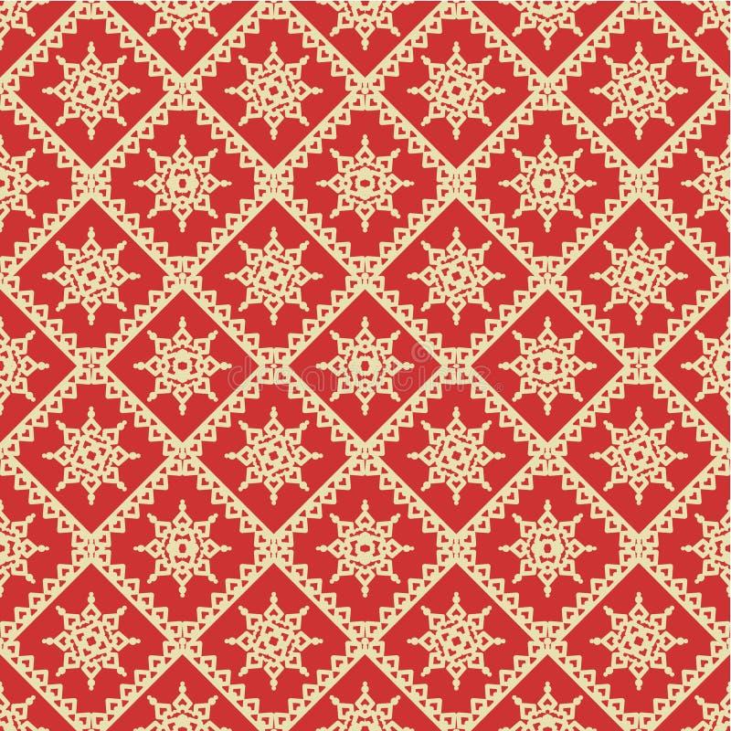 Rojo y fondo inconsútil del día de fiesta del oro ilustración del vector
