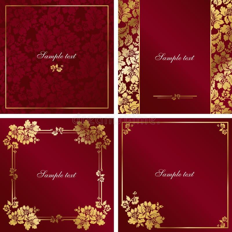 Rojo y marco de la vendimia del oro libre illustration