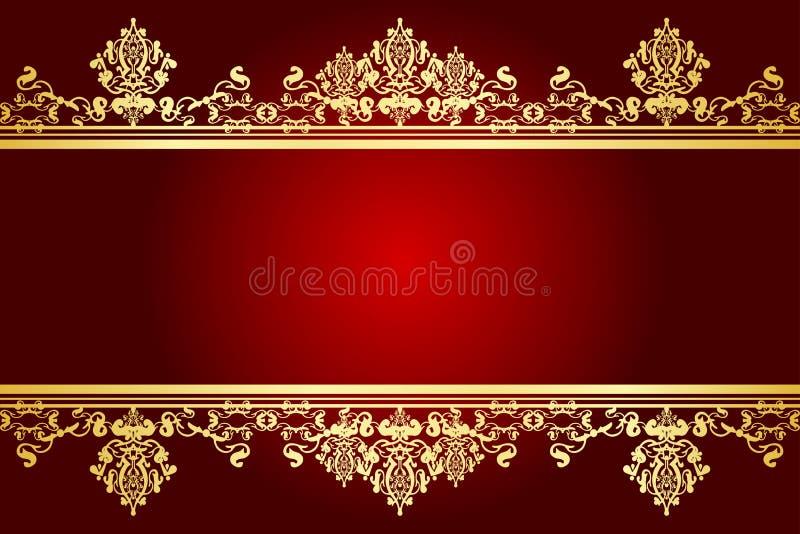 Rojo y marco del oro ilustración del vector