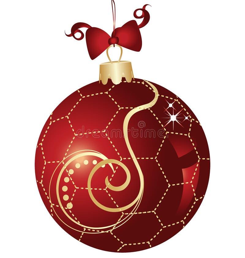Rojo y oro de la bola de la Navidad stock de ilustración