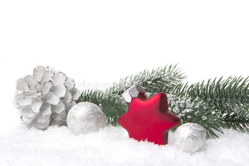 Rojo y plata de la decoración de la Navidad imágenes de archivo libres de regalías