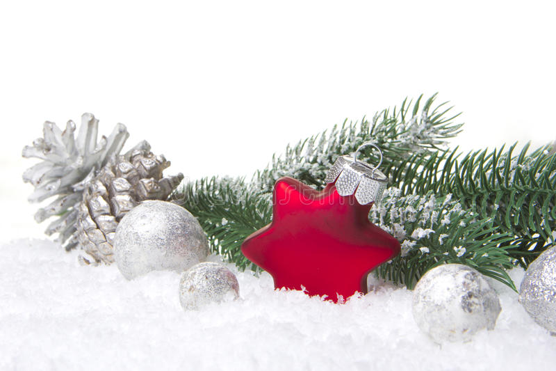 Rojo y plata de la decoración de la Navidad fotografía de archivo libre de regalías