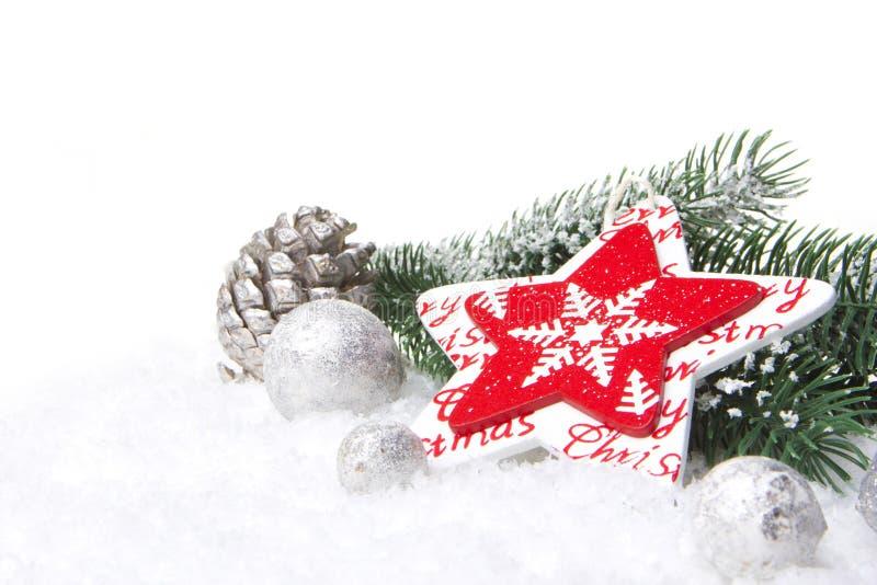 Rojo y plata de la decoración de la Navidad foto de archivo libre de regalías