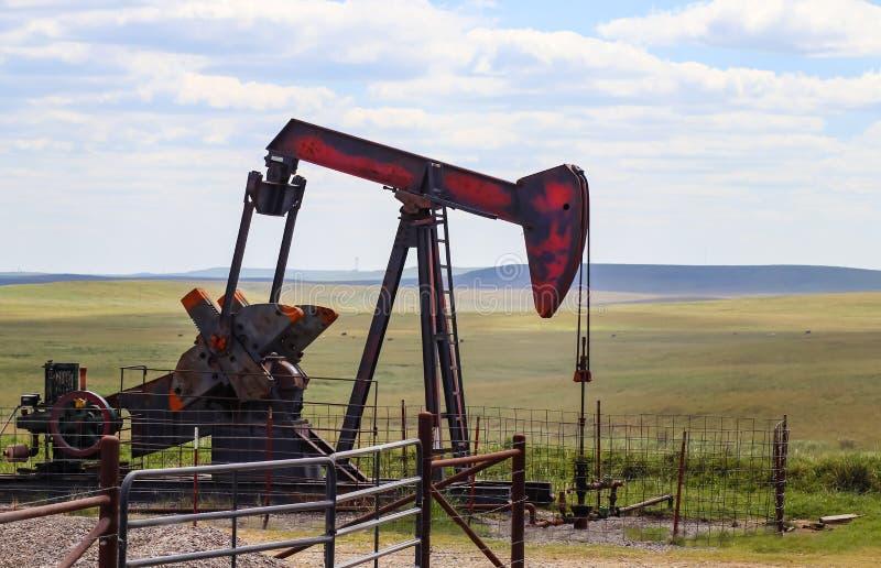 Rojo y pumpjack gris y anaranjado en el petróleo pozo en los llanos con el ganado que pasta detrás imagen de archivo libre de regalías