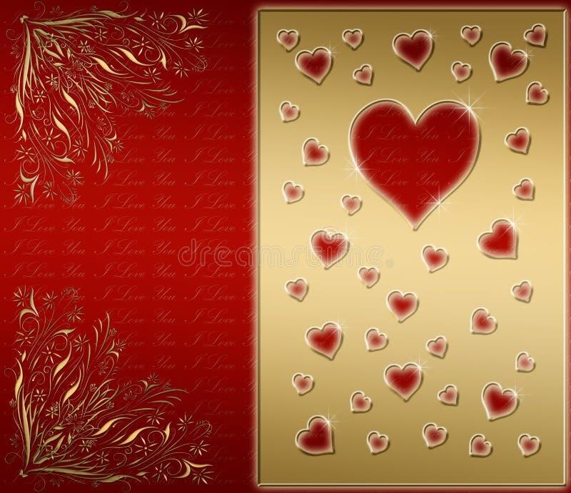 rojo y tarjeta de las tarjetas del día de San Valentín del oro ilustración del vector
