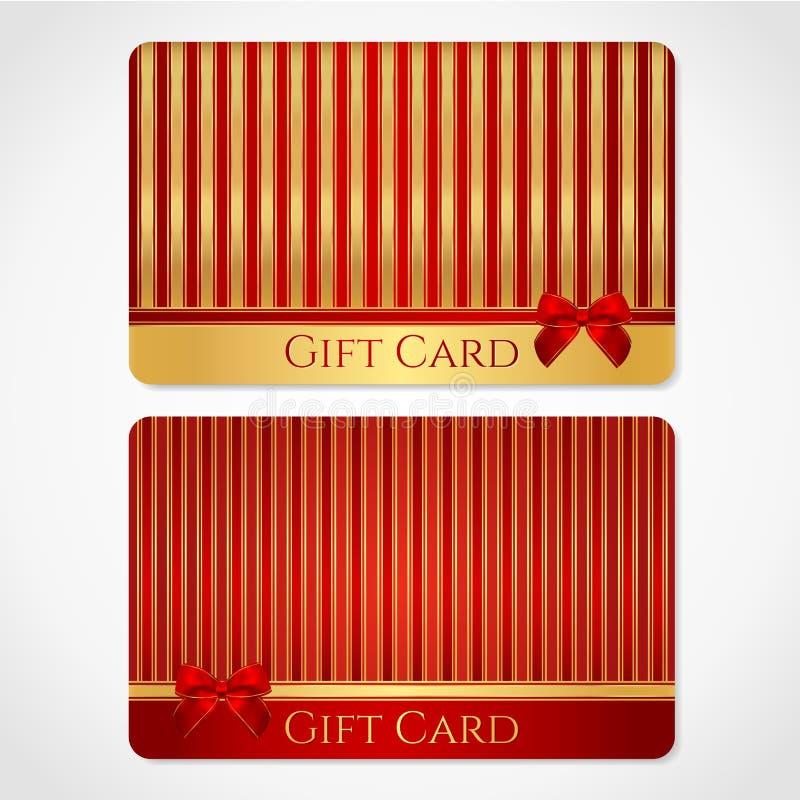 Rojo y tarjeta de regalo del oro con el modelo rayado ilustración del vector