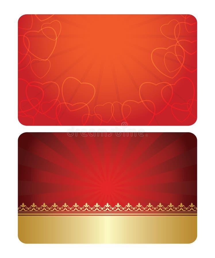 Rojo y tarjetas del oro con las decoraciones - plantillas ilustración del vector