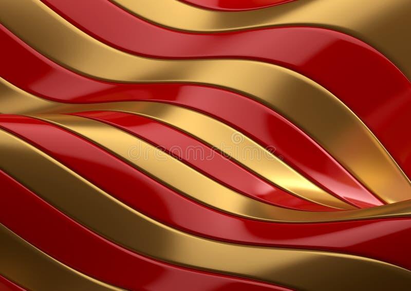 Rojo y textura abstracta del oro ilustración del vector