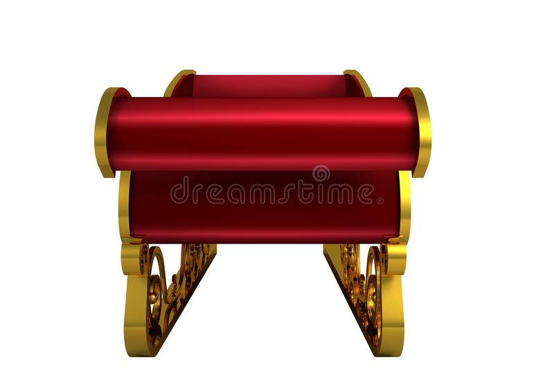 Rojo y trineo de santa del oro stock de ilustración