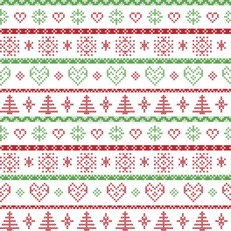 Rojo y verde en el modelo nórdico de la Navidad del fondo blanco con los copos de nieve y los ornamentos decorativos de los árbol libre illustration