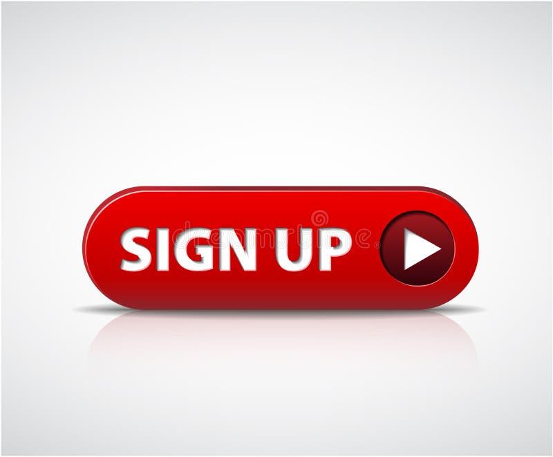Rojos grandes ahora firman para arriba el botón libre illustration