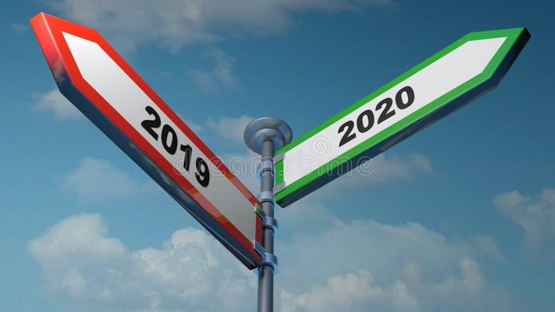 2019 - 2020 rojos y placas de calle verdes de la flecha que se?alan a izquierdo y derecho - ejemplo de la representaci?n 3D stock de ilustración