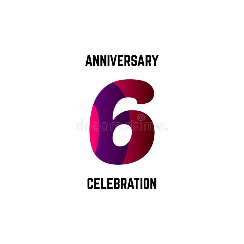 6 rok świętowania Rocznicowego logo szablonu projekta Wektorowa ilustracja ilustracja wektor