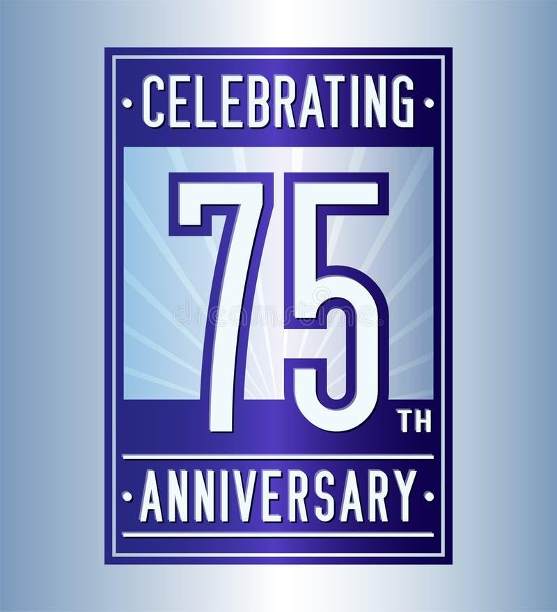 75 rok świętuje rocznicowego projekta szablon 75th logo Wektor i ilustracja ilustracja wektor
