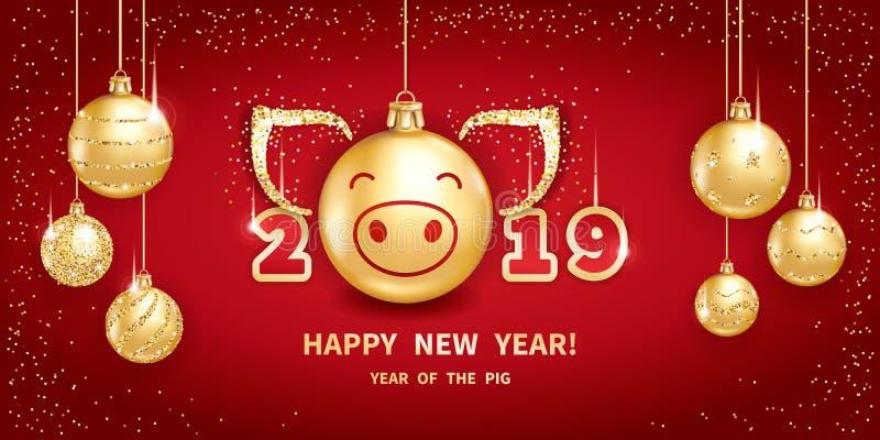 2019 rok świnia royalty ilustracja