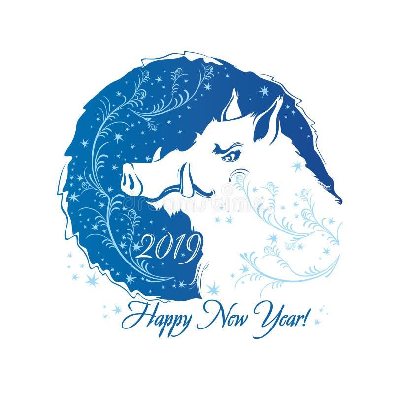 2019 rok świnia Rok knur Błękitnego round mroźny wzór ilustracja wektor