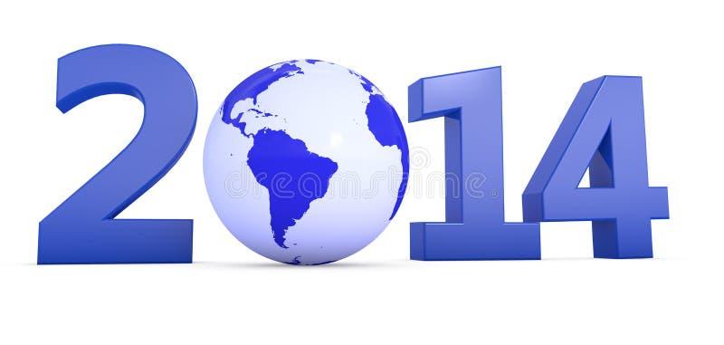 Rok 2014 Z Kulą Ziemską Jako Zero Fotografia Royalty Free