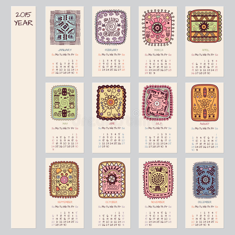2015 rok etniczny kalendarzowy projekt royalty ilustracja