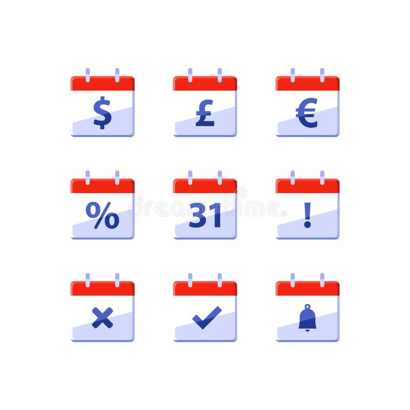 Rok fiskalny, pieniężny kalendarz, dolarowy znak, miesięczny dochód, nominacyjny dzień, ostatni dzień miesiąc, wektorowe ikony ilustracja wektor
