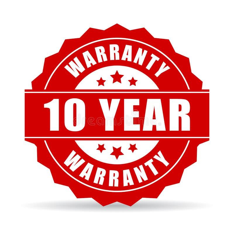 10 rok gwaranci ikony ilustracja wektor