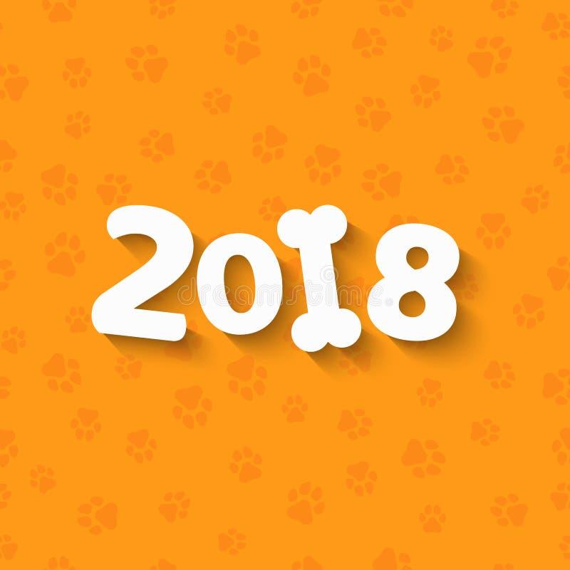 Rok 2018 jest żółtym ziemi psem Kreskówek postacie Biała kość Wzór żółtego psa ślada Pokrywa dla kalendarza Wektor ja royalty ilustracja