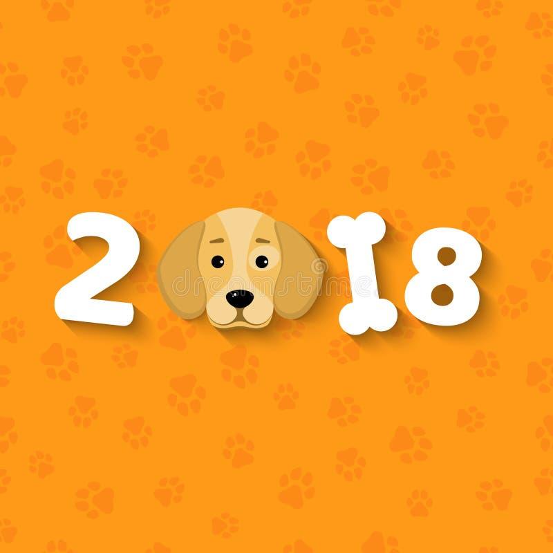 Rok 2018 jest żółtym ziemi psem Kreskówka psa uroczy spojrzenia Kreskówek postacie Pomarańcze wzór od śladów Pokrywa dla ca ilustracja wektor