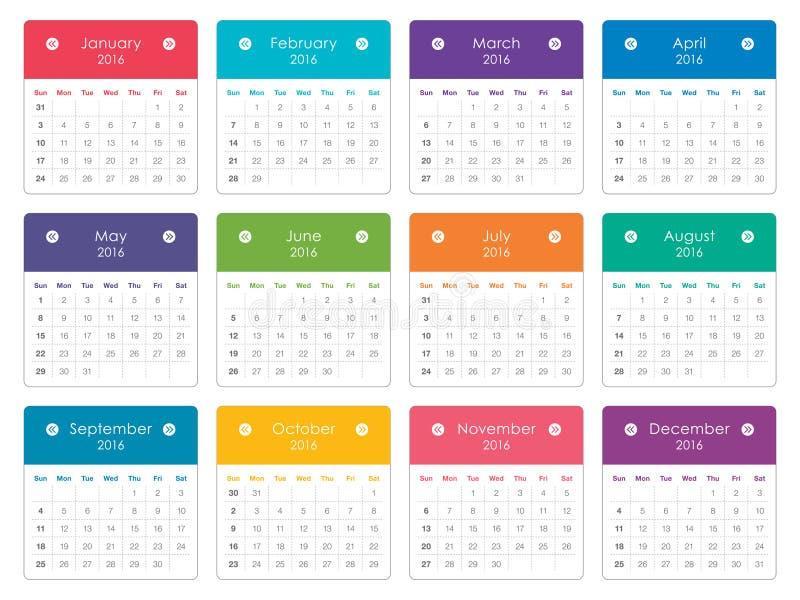 2016 rok kalendarz ilustracji