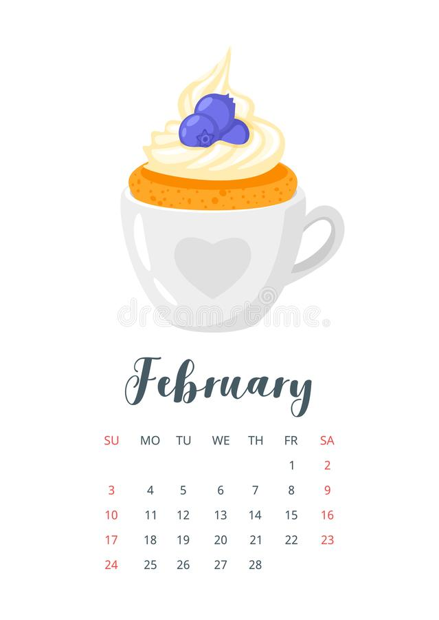 2019 rok kalendarz z babeczką ilustracji