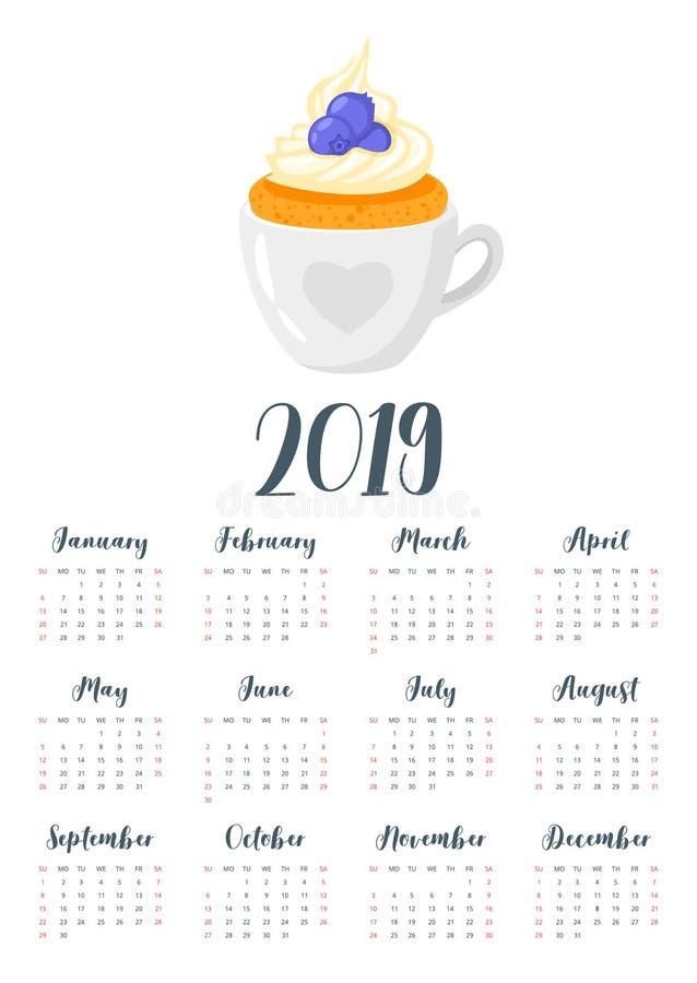 2019 rok kalendarz z babeczką ilustracja wektor