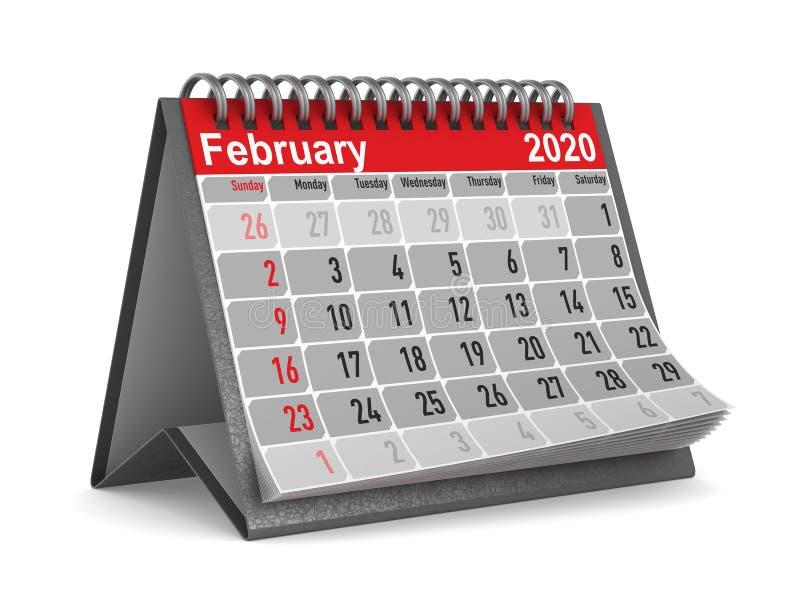 2020 rok kalendarzowy Luty Odosobniona 3d ilustracja ilustracji