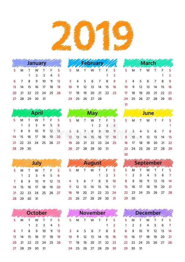 2019 rok kalendarzowy również zwrócić corel ilustracji wektora Szablonu planista ilustracji