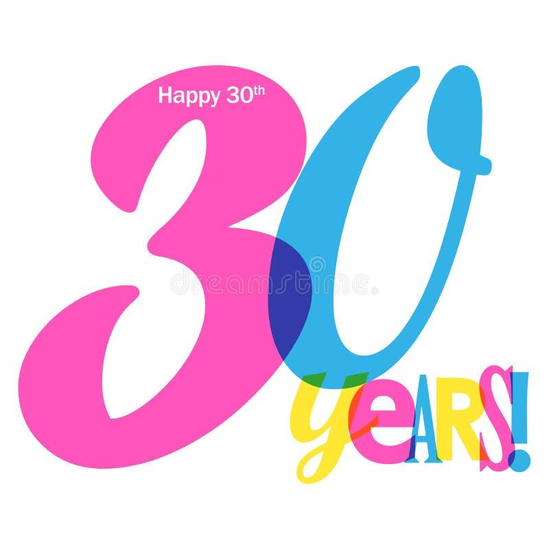 30 rok kolorowego pokrywa się listu sztandaru ilustracji