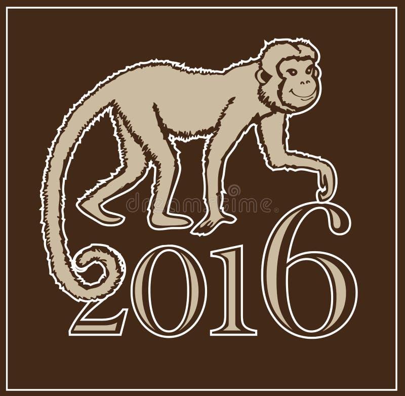 Rok małpa ilustracja wektor