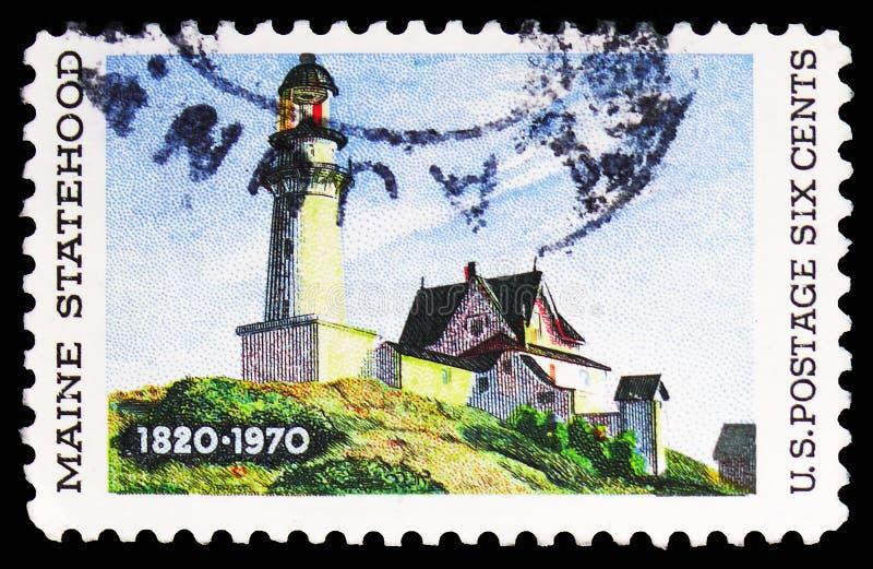 """150 rok Maine Statehood, przedstawienia latarnia morska przy Dwa światłami"""" Edward Hopper """", seria, około 1970 zdjęcia stock"""