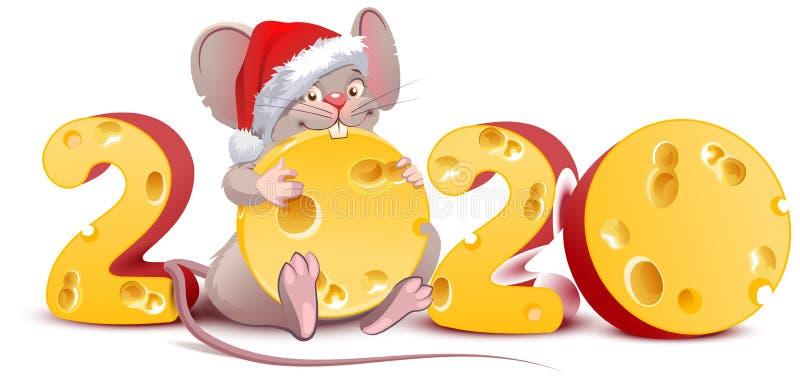 Rok od myszy do kalendarza chińskiego 2020 Mikołaj trzymający ser ilustracja wektor