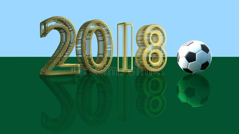 2018 rok od złocistej biżuterii siatki i photorealistic piłki nożnej piłki na zielonego szkła stole, 3D rendering royalty ilustracja